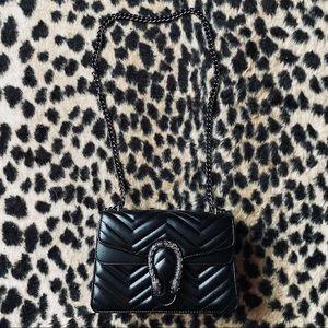 Black faux leather shoulder purse
